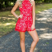 Our Love Story Red Lace Halter Romper