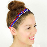 American Flag Hair Bow USA Flag Bow Headband Frosty Glitter Women's Hair Accessories 4th of July Bow Fourth of July Hair Bow Red Blue Bow