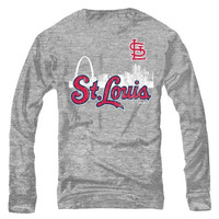 St. Louis Cardinals Majestic Threads Skyline Tri-Blend Long Sleeve T-Shirt – Ash