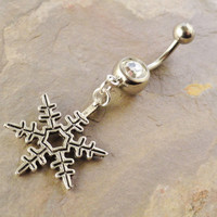 Silver Snowflake Belly Button Ring Navel Jewlery