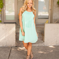 Invest in Me Fringe Dress Mint CLEARANCE