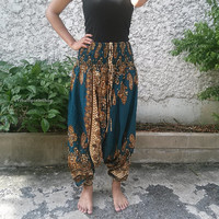 Green Blue Jumpsuit & Drop Crotch Harem Pants Paisley Floral Print Baggy Style Hippie Gypsy Tribal Plus Size Clothing For Beach Summer Chic