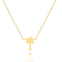 Colier Femme Fashion Jewelry Bijoux Tattoo Choker Stainless Steel Chains Gold Silver Simple Coconut Palm Tree Necklaces