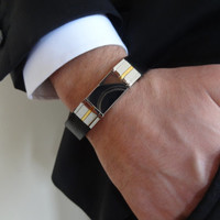 Men's Black Leather STAINLESS STEEL Bracelet, Men's Jewelry, Gold Bracelet, Groom Bracelets , Groom Gift, Wedding Gifts