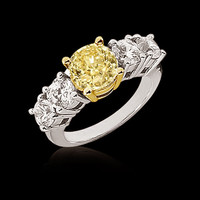 2.25 ct. yellow canary diamonds 5 stone ring gold new