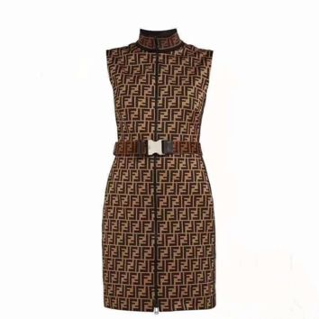 FENDI  New Fashion zipper Sleeveless Dress