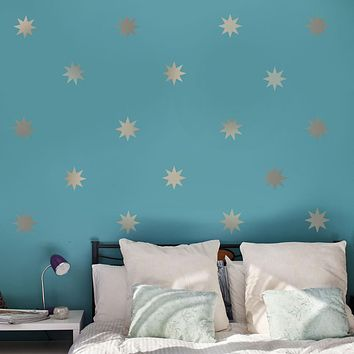 """25 Silver or Gold Metallic 4"""" Eight Point Star Vinyl Wall Decals"""