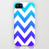 PURPLE & TEAL CHEVRON FADE iPhone Case by nataliesales | Society6