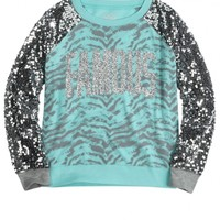 Sequin Sleeve Sweatshirt Tee