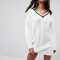 ASOS Oversized Chunky Dress With Tipping at asos.com