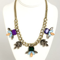 A Girl Can Gleam Blue Statement Necklace