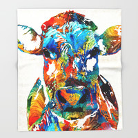 Colorful Cow Art - Mootown - By Sharon Cummings Throw Blanket by Sharon Cummings