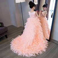 Flower Girl Dresses with Long Tail Sleeveless Ball Gown Kids Girl Pageant Dress Wedding Birthday 2-12T