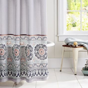 Pia Bordered Shower Curtain