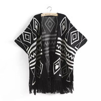 Solid Vintage Argyle Pattern Knitted Tassel Batwing Sweater