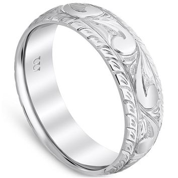 Whitehouse Brothers Vintage Style Swirl Wedding Band