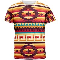 Native American Pattern Red All Over Adult T-Shirt