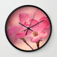 Colors of Spring: Pink Dogwood Wall Clock by Legends Of Darkness Photography