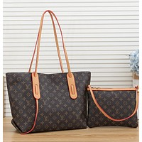 Louis Vuitton LV Women Leather Fashion Handbag Crossbody Shoulder Bag Satchel Set Two Piece