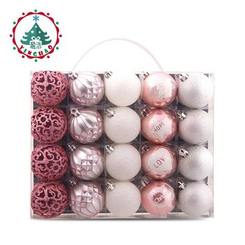 inhoo 2019 Christmas Tree Decoration Ball Ornaments Pendant Accessories  20pcs Silver powder Ball Decor For Christmas Home Party