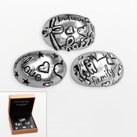Individuality Rings Interchangeables Silver-Plated Inspirational Ring Cap Set (Grey)