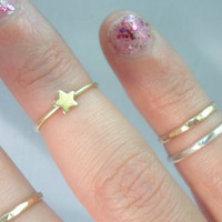 Tiny Star Knuckle Ring -Layering Above the Knuckle Gold Brass Stackable Ring