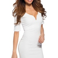 White Sweetheart Half Sleeve Dress