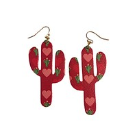 Cactus Love Leather Earrings