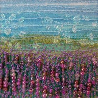 5 inch square card - Beaded and embroidered card - Lavender landscape - fabric landscape - fibre art card  -  french knots - greeting card