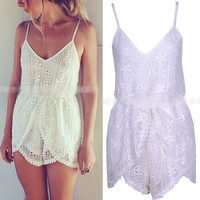 2014 Women Girl New Celeb Lace Crochet Strap Asymetric Hem Summer Beach Shorts
