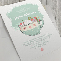 Printable Baby Shower Invitation, 5x7 Inch, Baby Shower Tea, White Rabbit in Tea Cup, White Bunny Rabbit, Spring Baby, Baby Blue, Tea Party