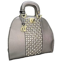 Top Handle Purse Rhinestone Handbag w/ Shoulder Strap Pewter