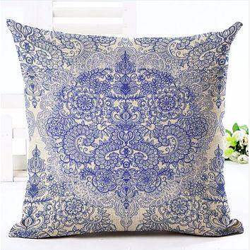 Bohemian Style Flower Printed Cushion Cover Pillow Case Linen Cotton Pillow Covers Plant sofa Car Seat Decorative Pillowcase