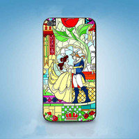 Beauty and Beast glass  customized for iphone 4/4s/5/5s/5c ,samsung galaxy s3/s4/s5 and ipod 4/5 cases