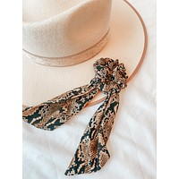 Brown Python Scrunchie Scarf