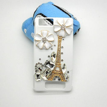 Handmade hard case for MOTO droid x2: Bling Eiffel tower with crystals (custom are welcome)