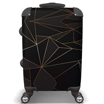 Abstract Black Polygon with Gold Line Travel Luggage by The Photo Access