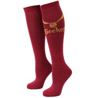 Harry Potter Quidditch Golden Snitch Seeker Adult Women's Knee High Socks - Red