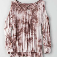 AEO Soft & Sexy Cold Shoulder T-Shirt, Mauve