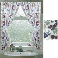 """54"""" Long Joanne Violet Floral Fabric Window Shower Curtain"""