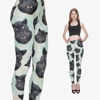 2016 New Arrival Leggings Fashion 3D Mint Green with Black Panther Heads Women Funny Animal Dog Leggings Pants basic slim