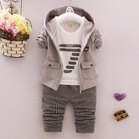 2018 autumn fashion baby boy clothes cotton long sleeve solid zipper jacket+T-Shirt+pants 3pcs bebes tracksuit baby boy clothing