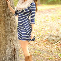 Sail Away With Me Dress: Blue/White