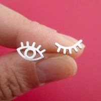 Wink Wink One Eye Open One Eye Closed Stud Earrings in Silver