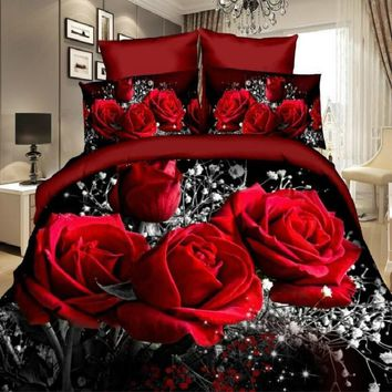 2/3Pcs Red Dream 3D Oil Painting Rose Printed Bedding Set Queen King Size Quilt Cover Bed Sheet Pillowcases
