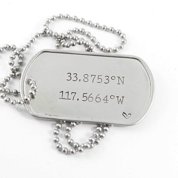 Latitude Longitude /  Location - Stainless Steel Dog Tag