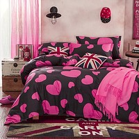reactive printing queen size bedding sets/bed sheet/duvet cover bedclothes home textile