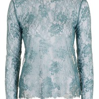 Lace Highneck Long Sleeve Top | Topshop