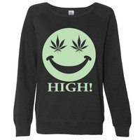 Glow in the Dark Stoner Smiley Face Ladies Lightweight Crewneck