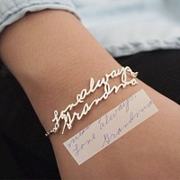 Handmade Bracelet & Bangle Custom Name Bracelet Gold Stainless Steel Cuff Bracelets For Women Love Message Customized Gift